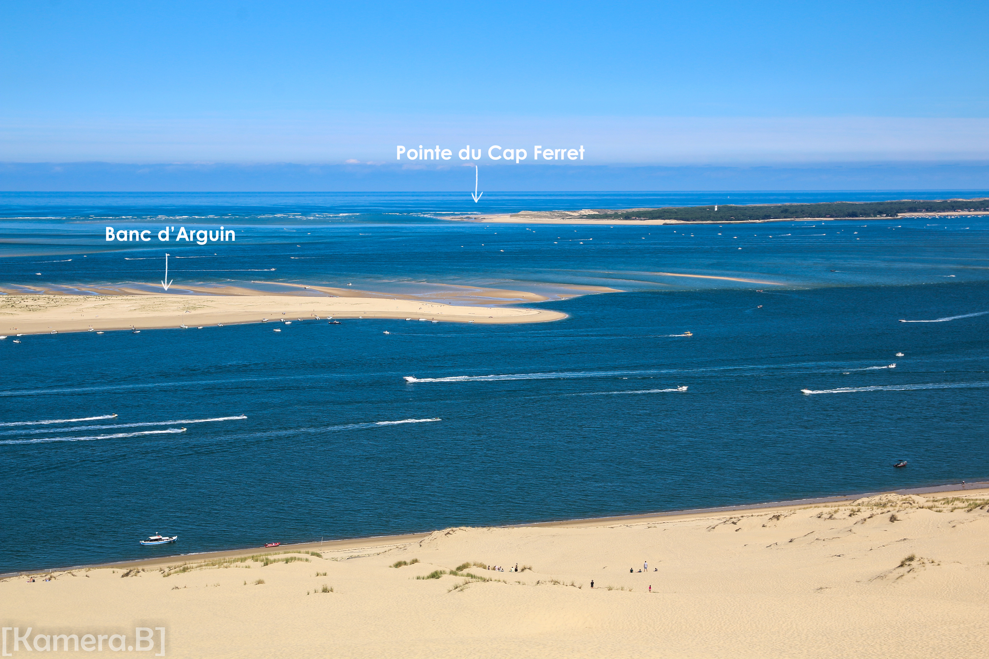 Vu sur le banc d'Arguin et la pointe du Cap Ferret depuis la dune du Pilat